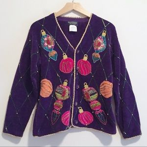 Vintage beaded Christmas cardigan intricate detail